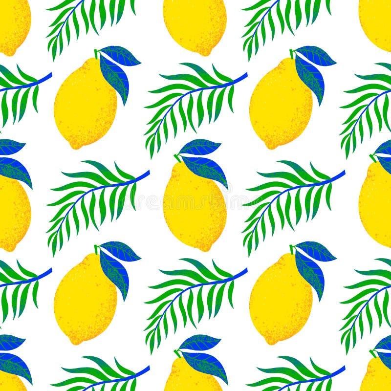 Sömlös modell för vektor med citroner och sidor för hand utdragna royaltyfri foto