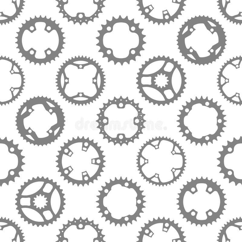 Sömlös modell för vektor med cykelchainrings vektor illustrationer