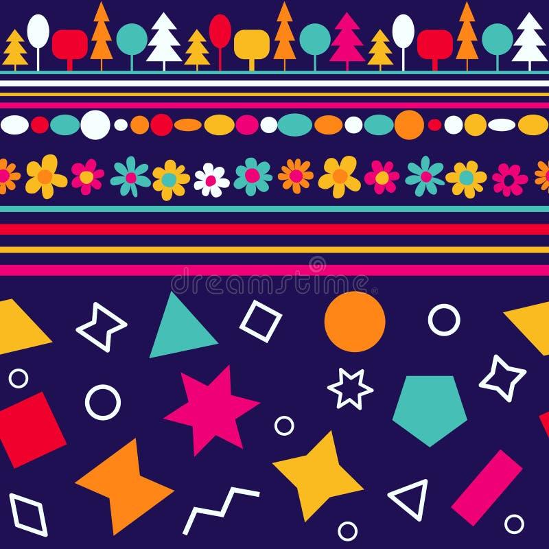 Sömlös modell för vektor med dekorativa blommor och geometriska diagram Färgrikt behandla som ett barn tapeten stock illustrationer