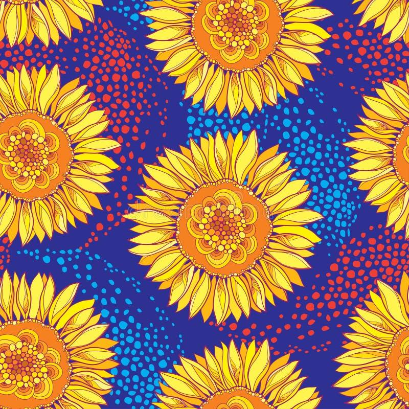Sömlös modell för vektor med den öppna solros- eller Helianthusblomman för översikt i guling och apelsin på den blåa bakgrunden royaltyfri illustrationer