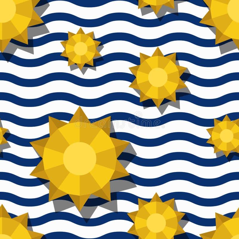 Sömlös modell för vektor med den 3d stiliserade gula solen och blåa krabba band Randig bakgrund för sommarflotta vektor illustrationer