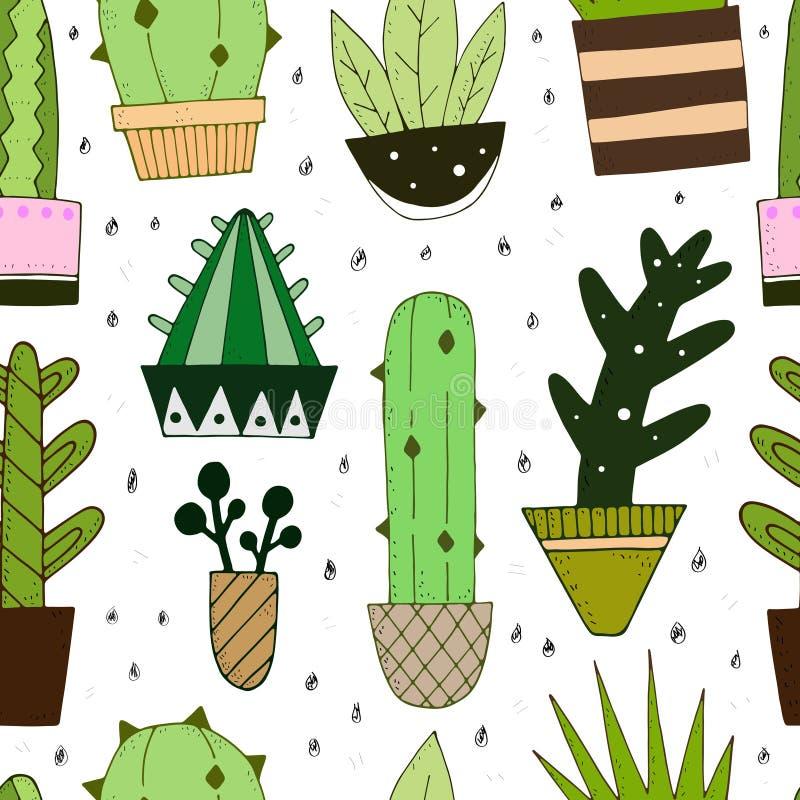 Sömlös modell för vektor med den gulliga kaktuns stock illustrationer