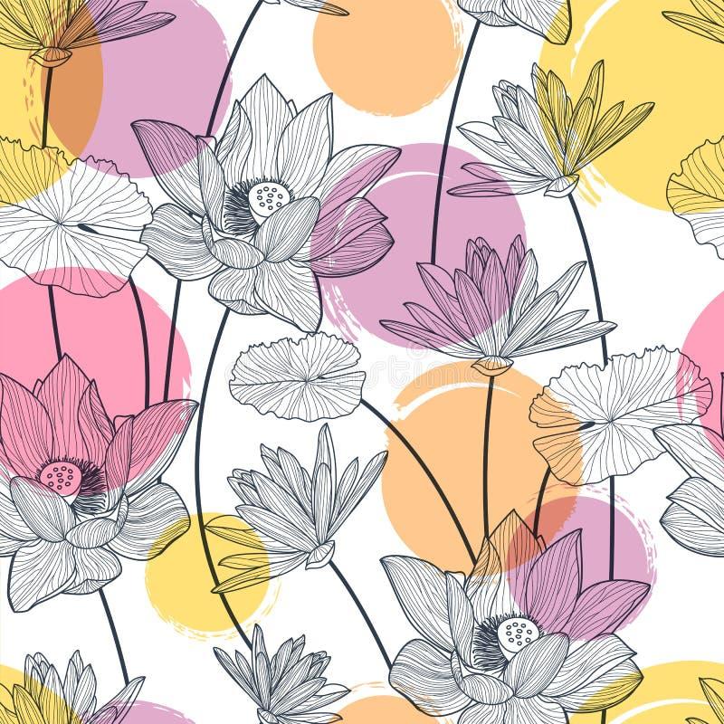 Sömlös modell för vektor med den härliga lotusblommablomman och färgrikt royaltyfri illustrationer
