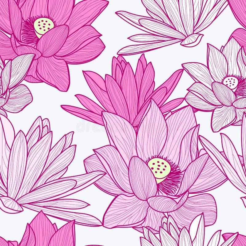 Sömlös modell för vektor med den härliga rosa lotusblommablomman blom- vektor illustrationer