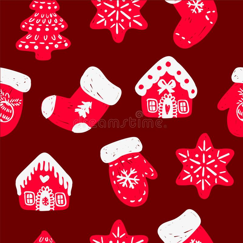 Sömlös modell för vektor med den hand drog klotterjulgranskogen, handskar, sockor, hus och snöflingor royaltyfri illustrationer