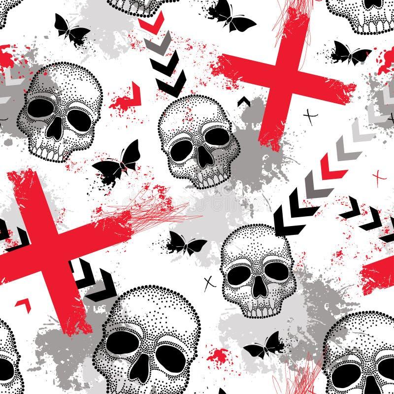 Sömlös modell för vektor med den prickiga skallen, Röda korset, fjärilar, fläckar och pilar i rött och svart på den vita bakgrund stock illustrationer