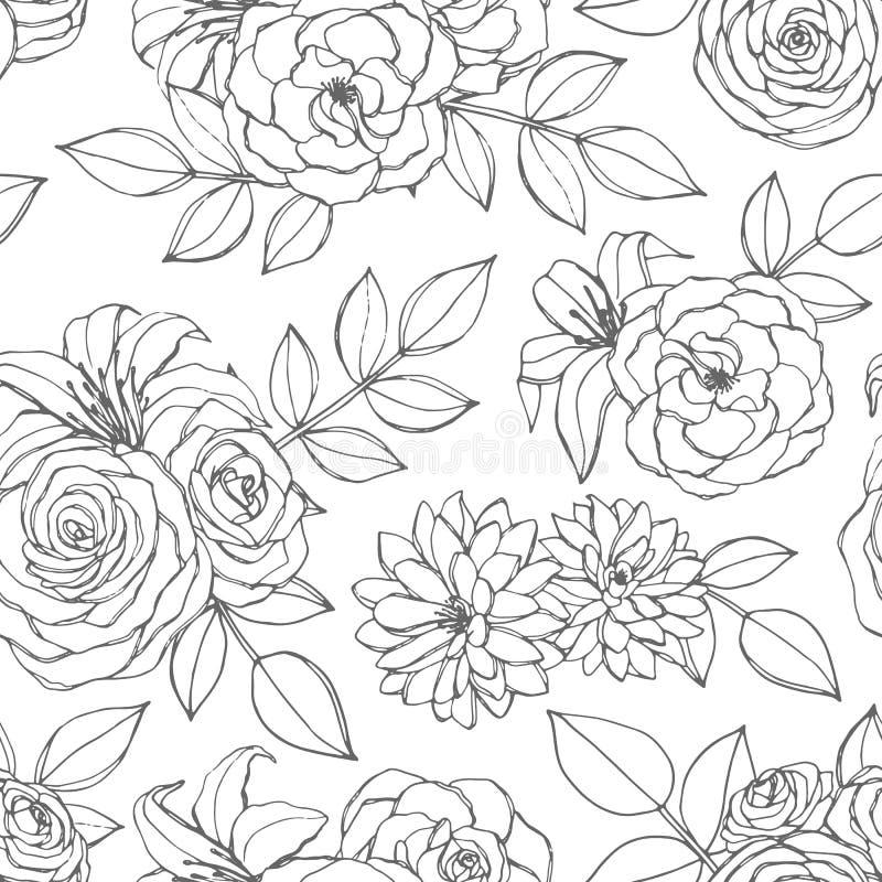 Sömlös modell för vektor med den ros-, lilja-, pion- och krysantemumblommalinjen konst på den vita bakgrunden tecknad blom- hand stock illustrationer