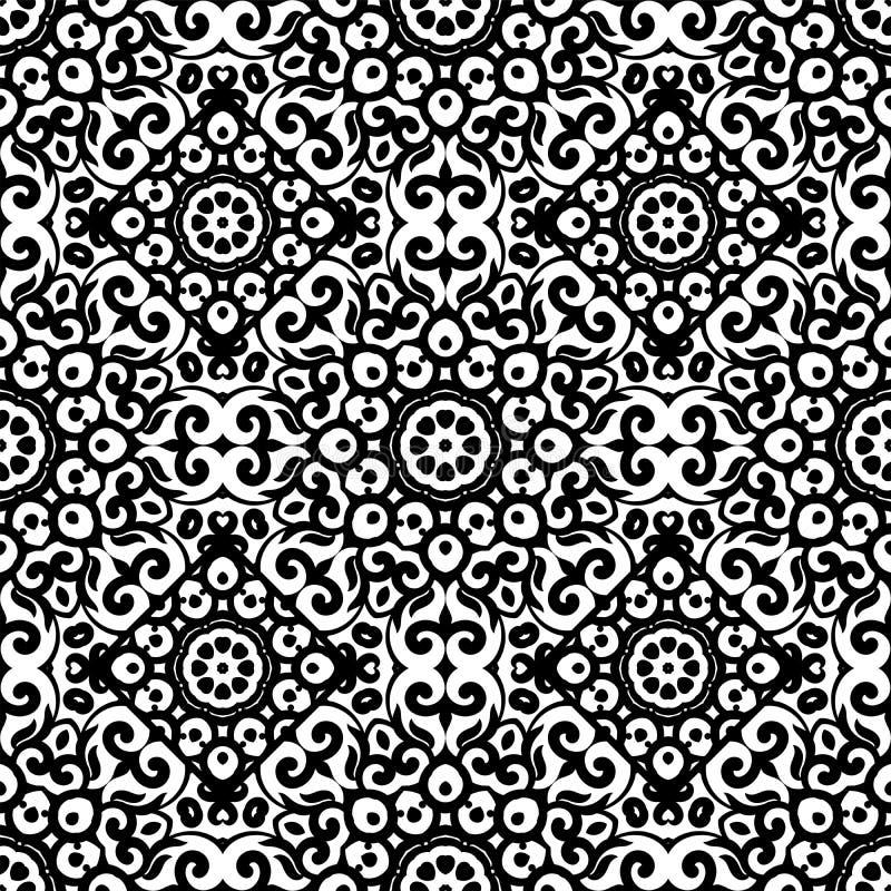 Sömlös modell för vektor med den svartvita prydnaden Tappningdesignbeståndsdel i östlig stil Dekorativt snöra åt traceryen vektor illustrationer