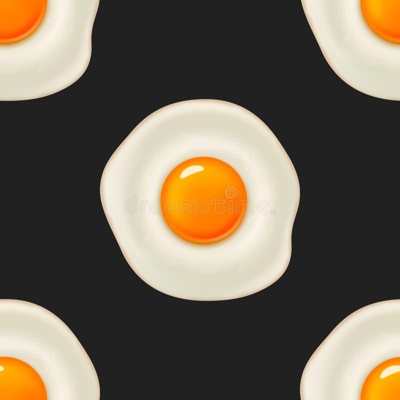 Sömlös modell för vektor med det härliga realistiska stekte ägget stock illustrationer