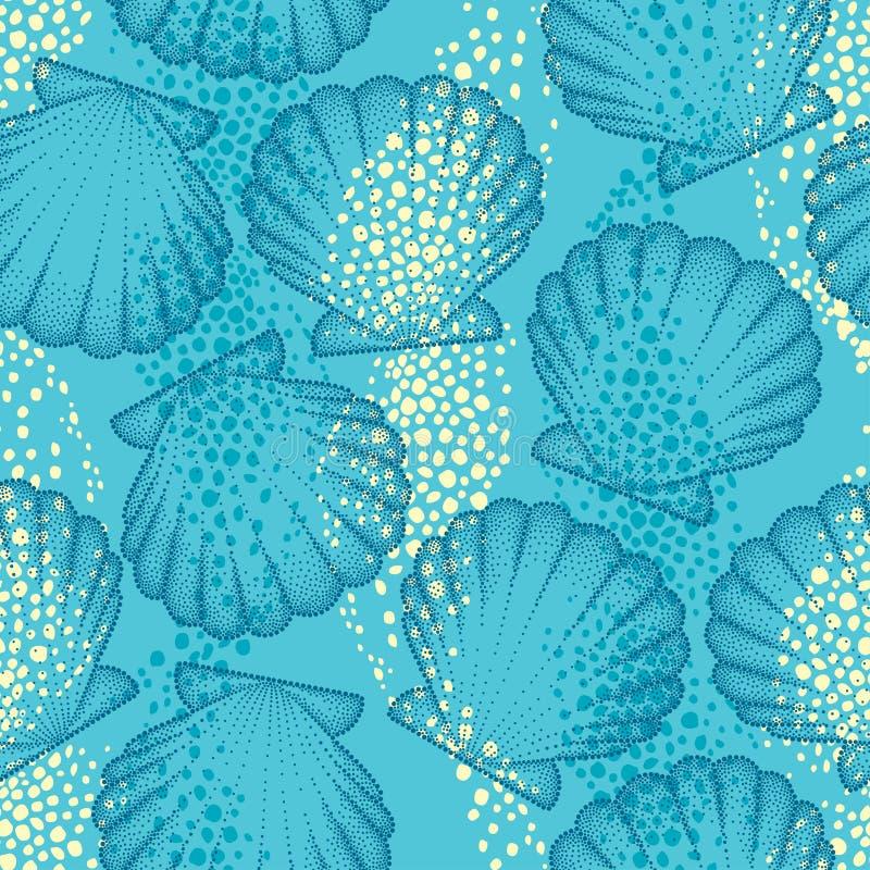Sömlös modell för vektor med det prickiga havsskalet eller kammussla på den blåa bakgrunden maritimt Marin- och vatten- tema stock illustrationer