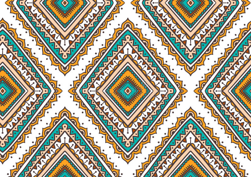Sömlös modell för vektor med etniska stam- dekorativa romber Boho och för hippie stilfull bakgrund vektor illustrationer