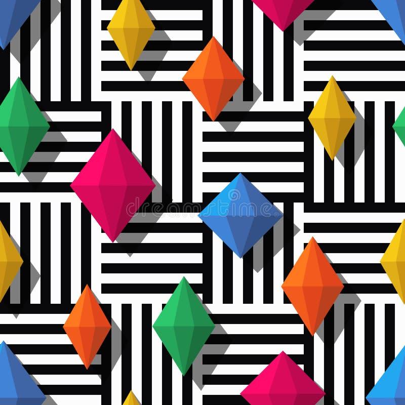 Sömlös modell för vektor med färgrika diamanter eller ädelstenar vektor illustrationer