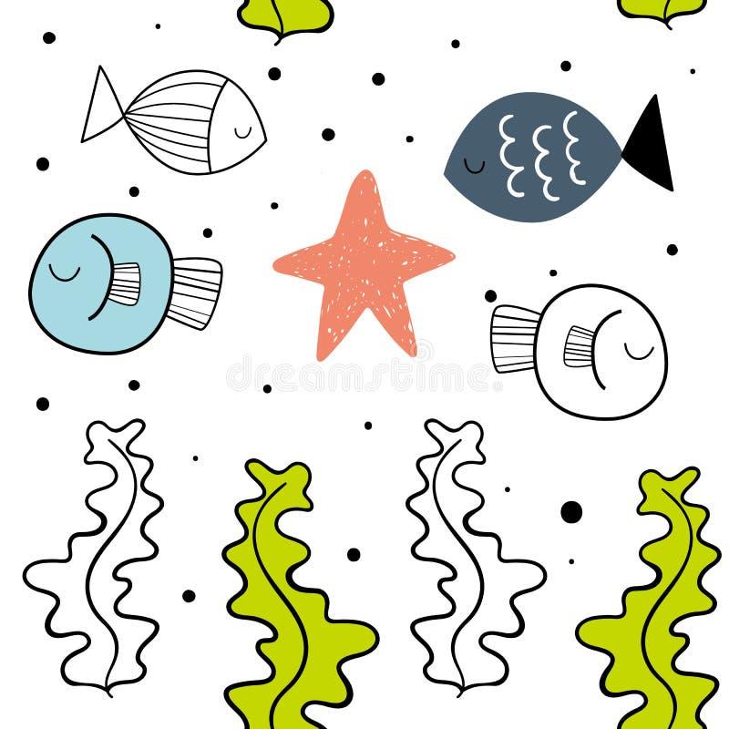 Sömlös modell för vektor med fisken Skandinaviska bevekelsegrunder Behandla som ett barn trycket vektor illustrationer