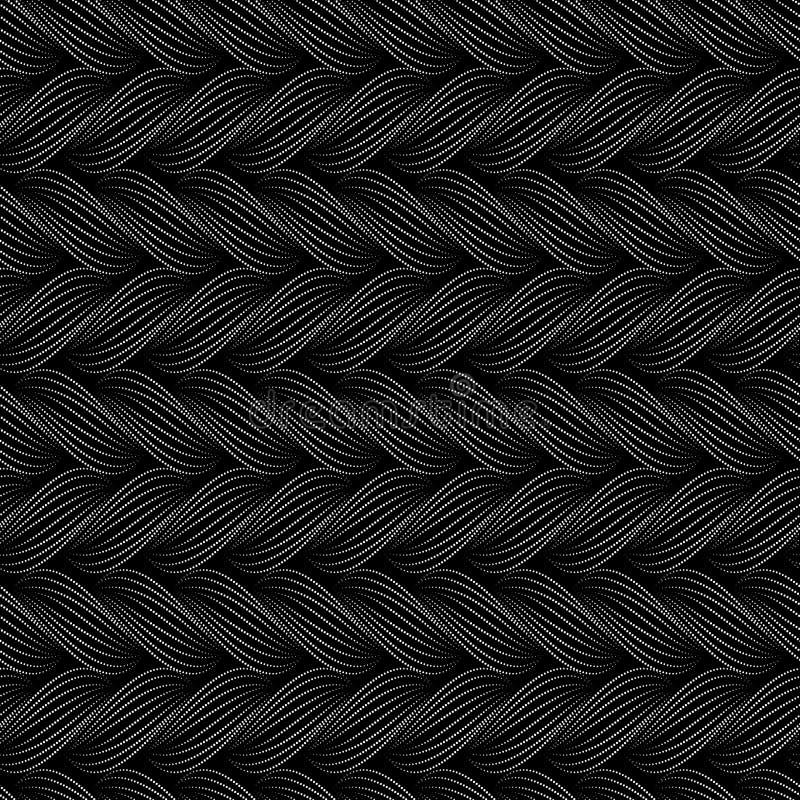Sömlös modell för vektor med flätade trådar Textur av garn med den prickiga linjen flätar närbild dekorativ abstrakt bakgrund Änd stock illustrationer