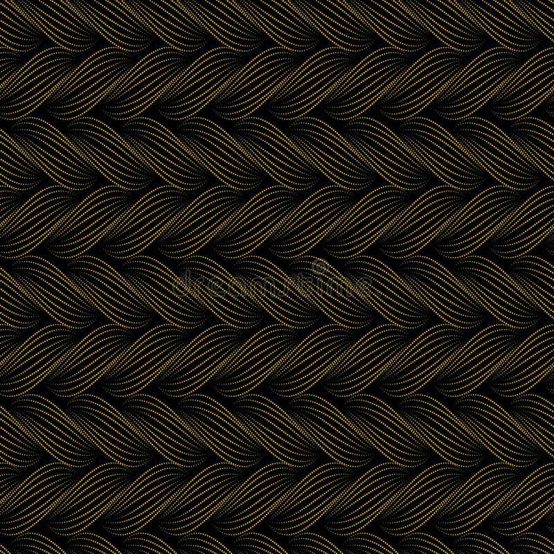 Sömlös modell för vektor med flätade trådar Textur av garn med den prickiga linjen flätar närbild dekorativ abstrakt bakgrund Änd vektor illustrationer