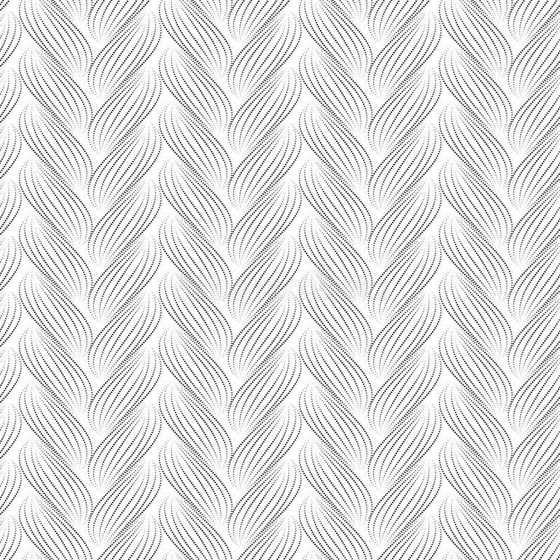 Sömlös modell för vektor med flätade trådar Textur av garn med den prickiga linjen flätar närbild dekorativ abstrakt bakgrund Änd royaltyfri illustrationer