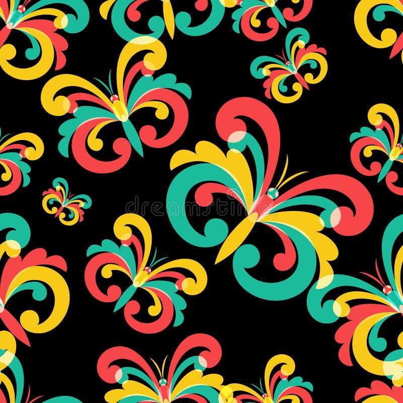 Sömlös modell för vektor med flerfärgade fjärilar på svartbac royaltyfri illustrationer