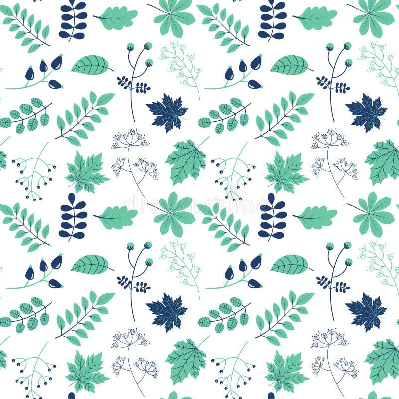 Sömlös modell för vektor med gröna och blåa sidor för den förpackande designen för naturliga och ecoprodukter royaltyfri illustrationer
