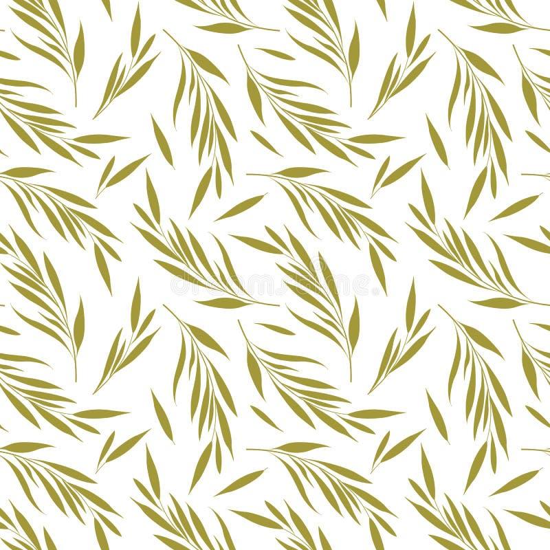 Sömlös modell för vektor med guld- blom- beståndsdelar F?rgrena sig med l?mnar stock illustrationer