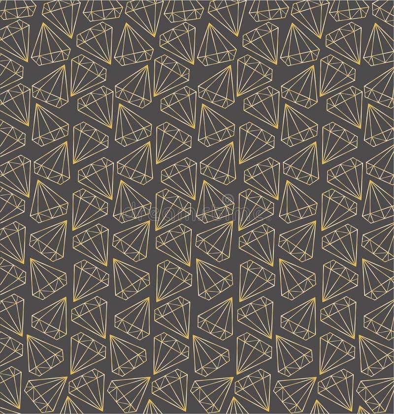 Sömlös modell för vektor med guld- konturer av diamanter, ädelstenar, kristaller Geometriskt tryck Moderiktig design stock illustrationer