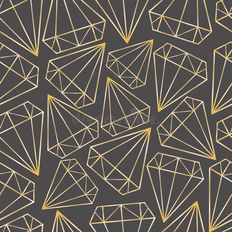 Sömlös modell för vektor med guld- konturer av diamanter, ädelstenar, kristaller Geometriskt tryck, textur, bakgrund stock illustrationer