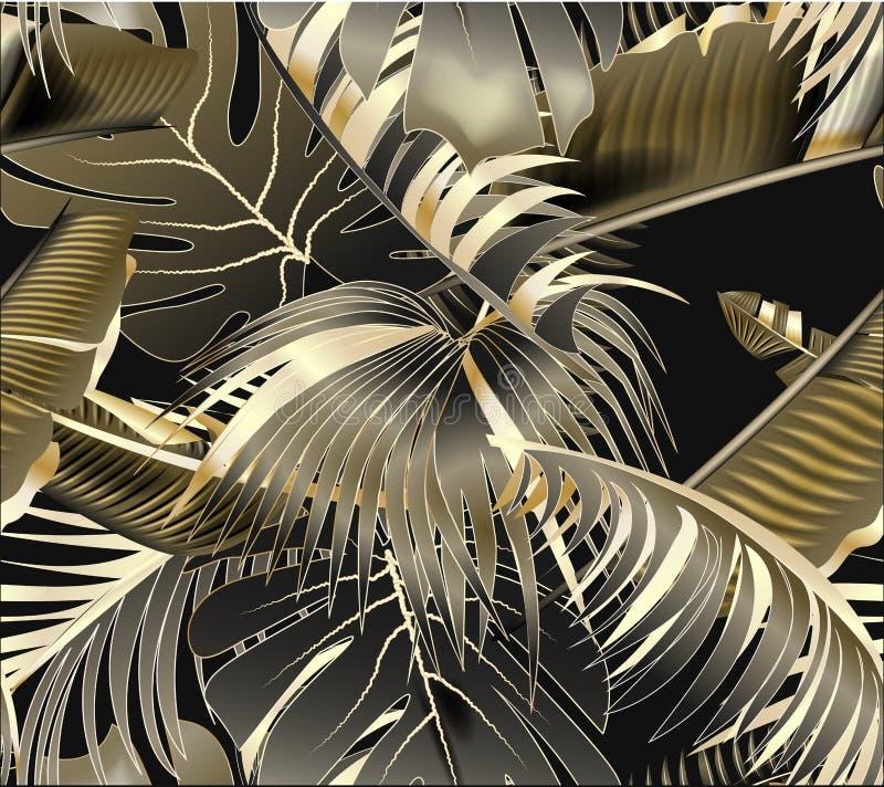 Sömlös modell för vektor med guld- och svarta tropiska sidor på mörk bakgrund Rainforest royaltyfri illustrationer