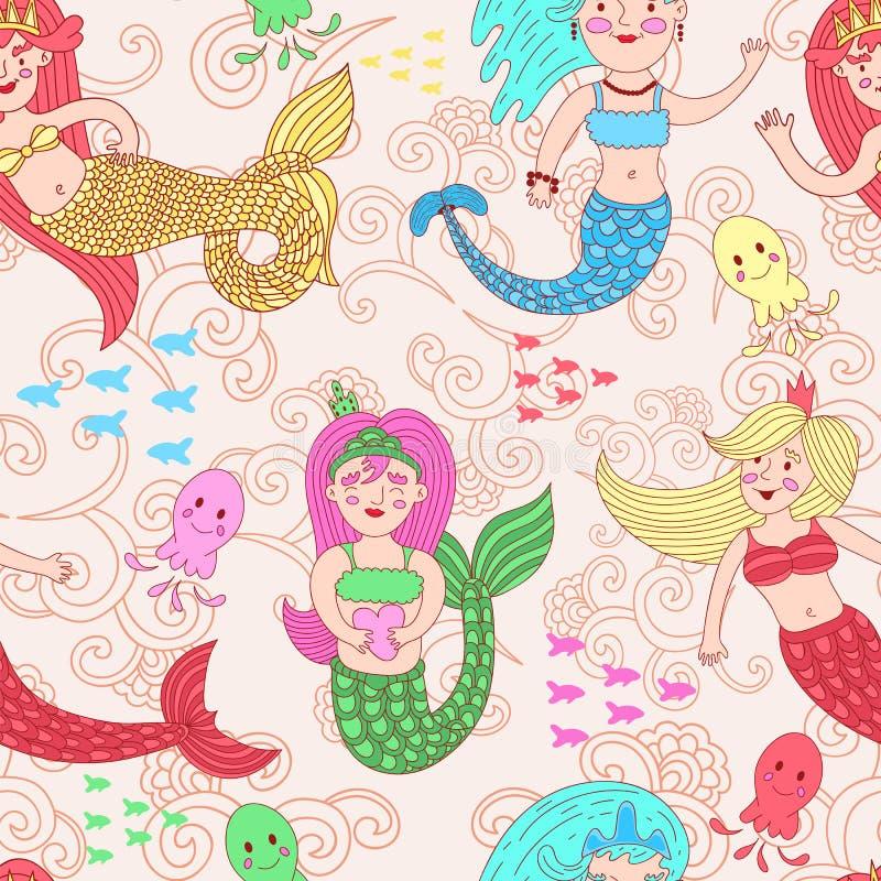 Sömlös modell för vektor med gulliga färgrika sjöjungfruar stock illustrationer