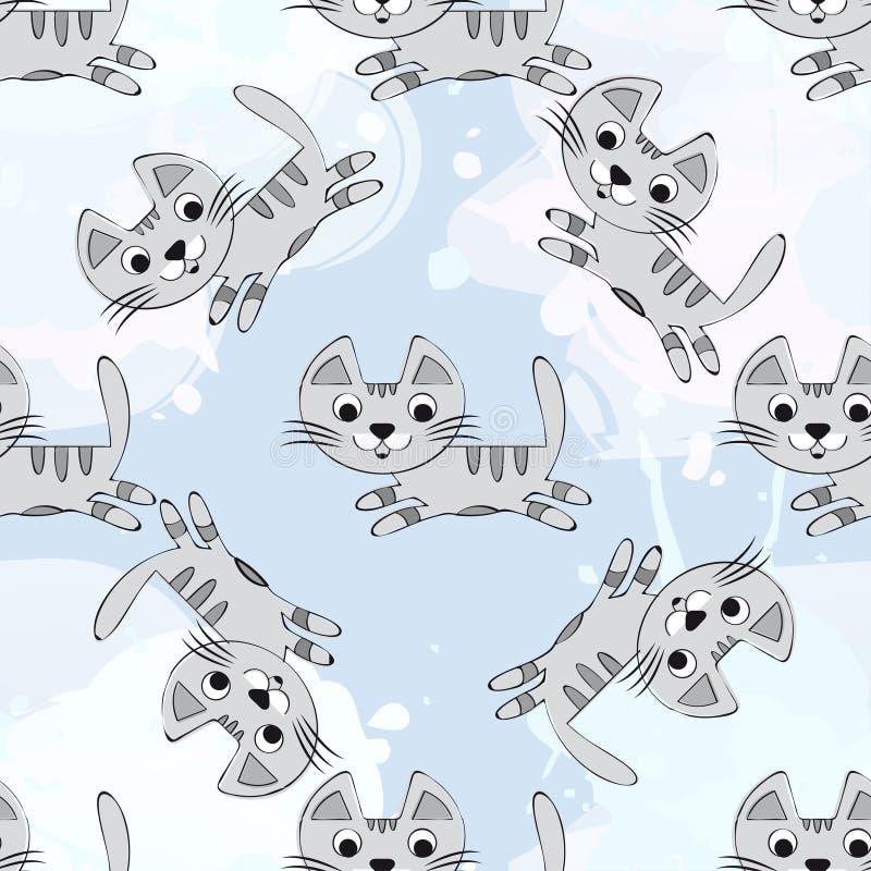 Sömlös modell för vektor med gulliga kattungar på en blå bakgrund Behandla som ett barn för tyg, papper, inredesign eller kläder stock illustrationer