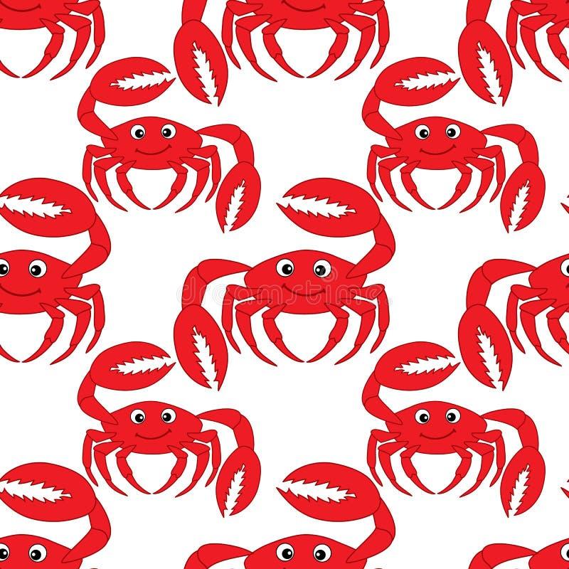 Sömlös modell för vektor med gulliga krabbor För modellvektor för krabba sömlös illustration royaltyfri illustrationer