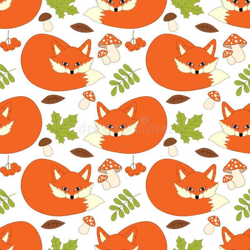 Sömlös modell för vektor med gulliga rävar, champinjoner, bär och sidor Forest Fox Seamless Pattern royaltyfri illustrationer