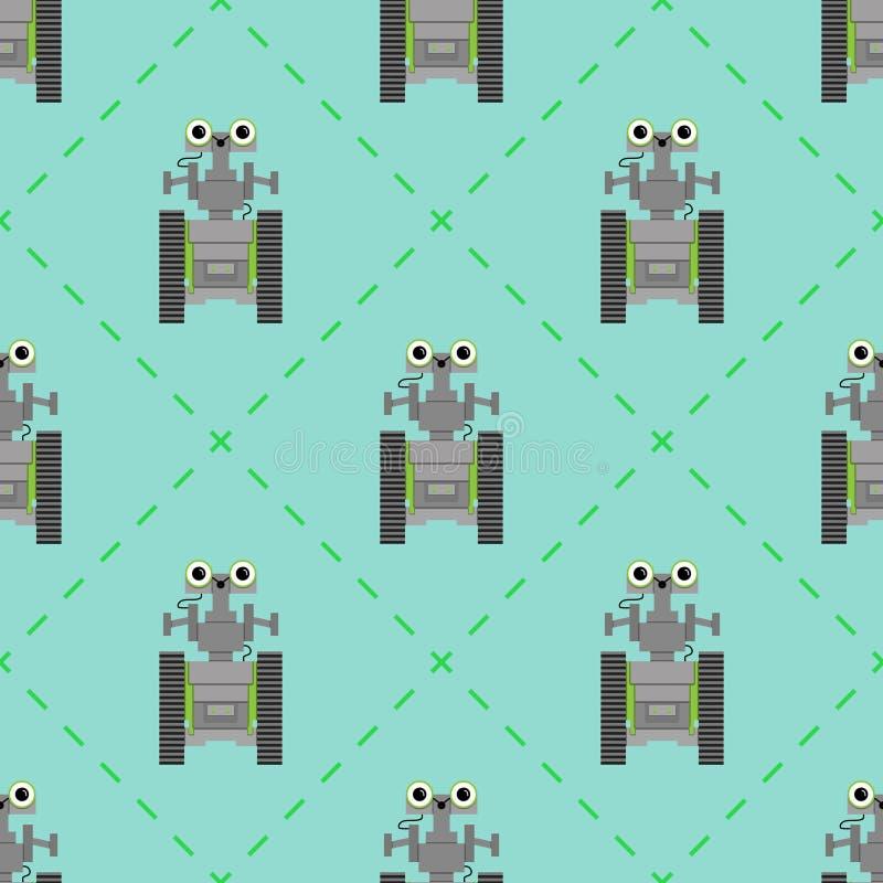 Sömlös modell för vektor med gulliga robotar stock illustrationer