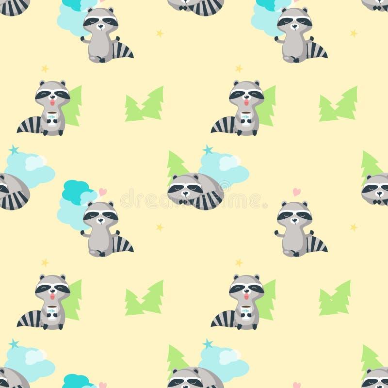 Sömlös modell för vektor med gulliga roliga tvättbjörnar royaltyfri illustrationer