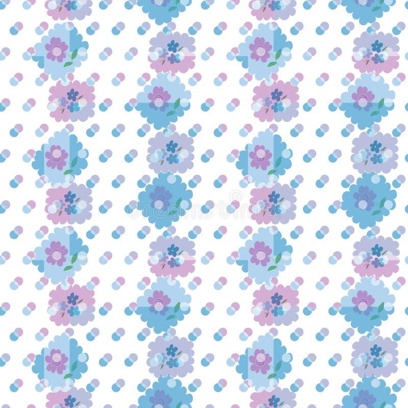 Sömlös modell för vektor med härliga blommor, moln och färgrika prickar stock illustrationer