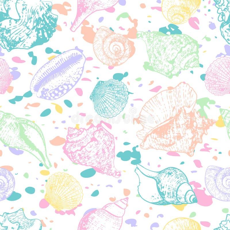 Sömlös modell för vektor med hand dragen färgrik seashellsl Flerfärgad abstrakt bakgrund med skal vektor illustrationer
