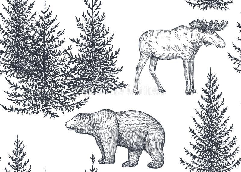Sömlös modell för vektor med hand drog djur och träd royaltyfri illustrationer