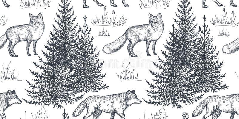 Sömlös modell för vektor med hand drog djur och träd stock illustrationer