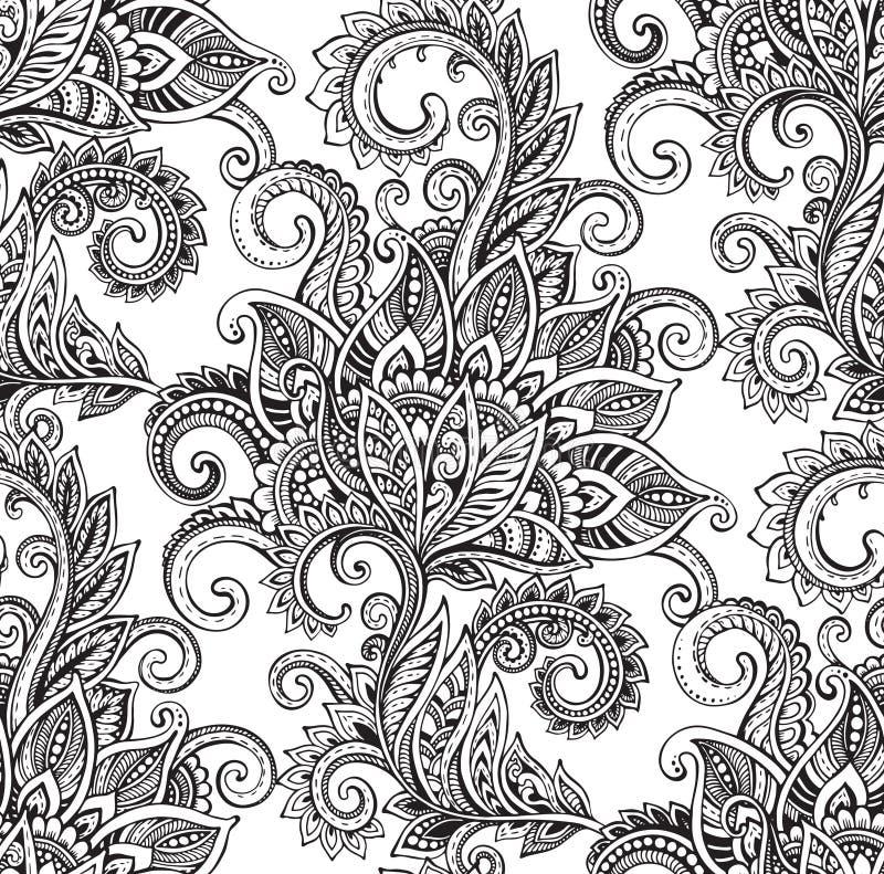Sömlös modell för vektor med hand drog utsmyckade blommor vektor illustrationer