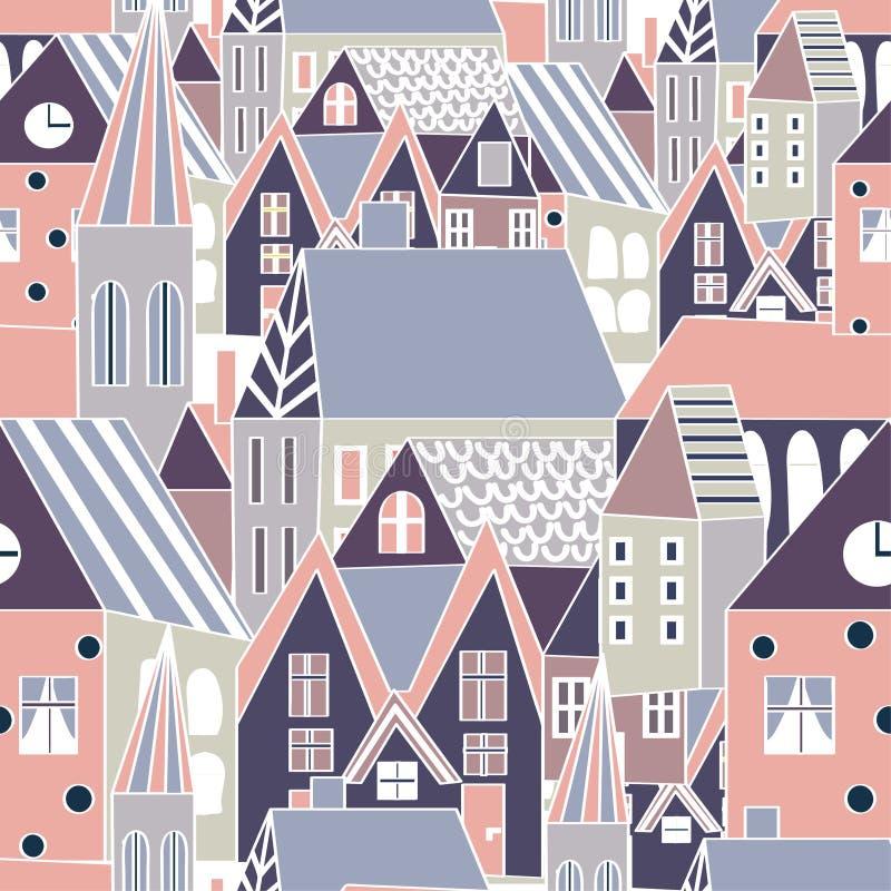 Sömlös modell för vektor med hus, dragen stadsbakgrund för tecknad film hand för rolig design stock illustrationer
