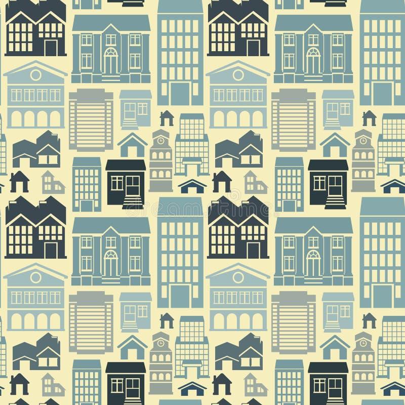 Sömlös modell för vektor med hus och byggnader royaltyfri illustrationer