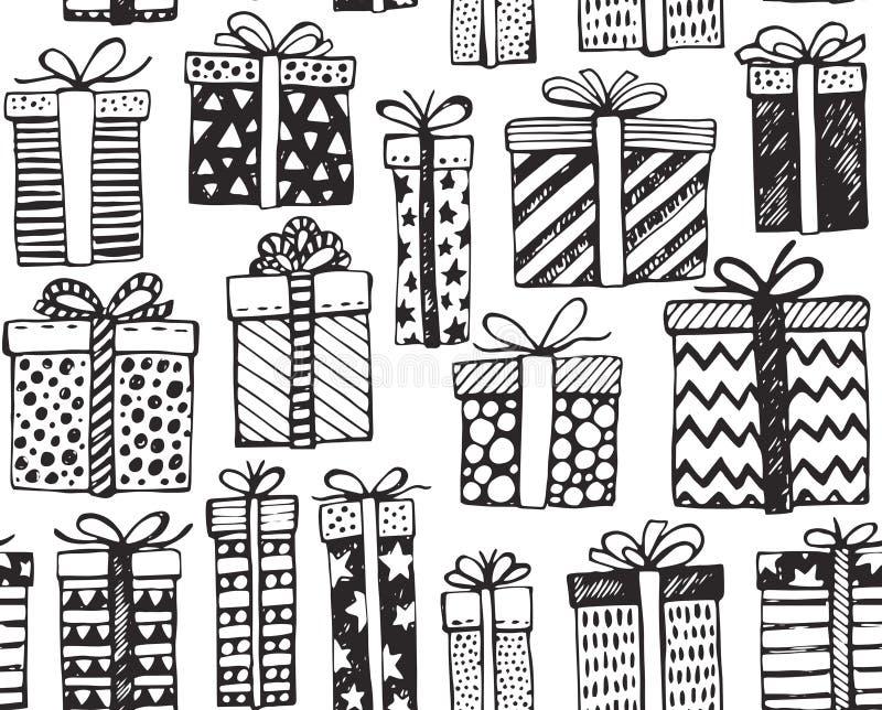 Sömlös modell för vektor med jul eller utsmyckade gåvaaskar för födelsedag stock illustrationer