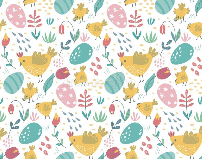 Sömlös modell för vektor med kaniner, höna och blommor royaltyfri illustrationer