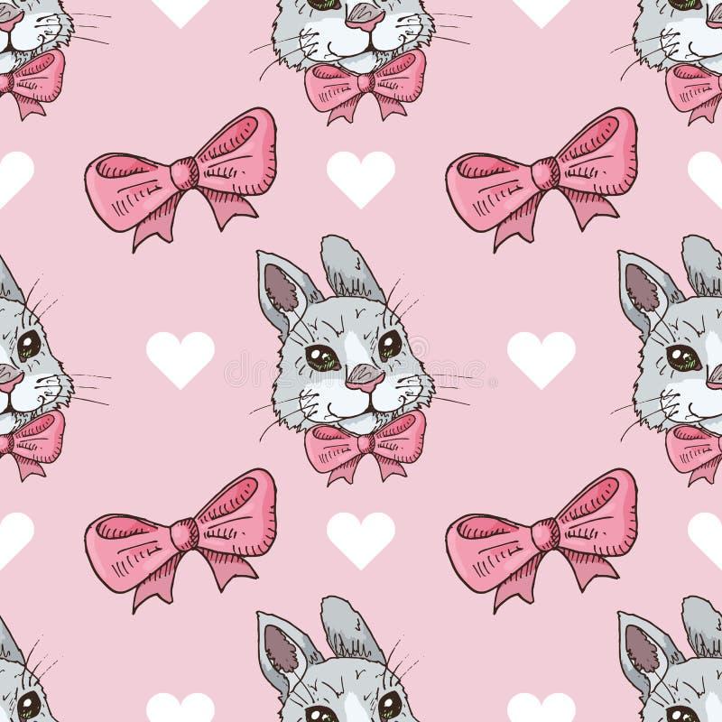 Sömlös modell för vektor med kaniner, pilbågar och hjärtor vektor illustrationer