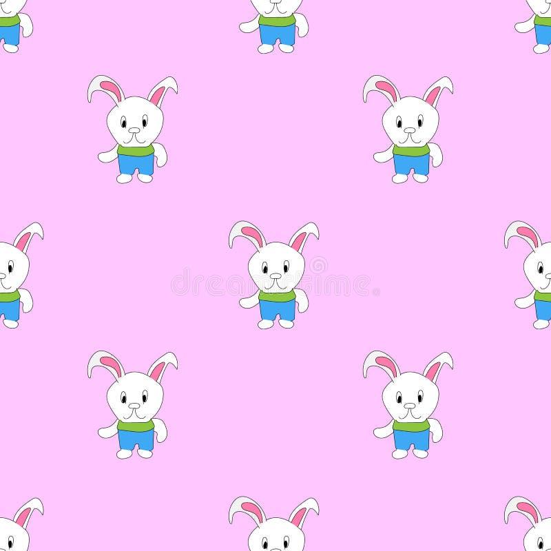 Sömlös modell för vektor med kaniner Yttersida för inpackningspapper, skjortor, torkdukar, Digital papper royaltyfri illustrationer