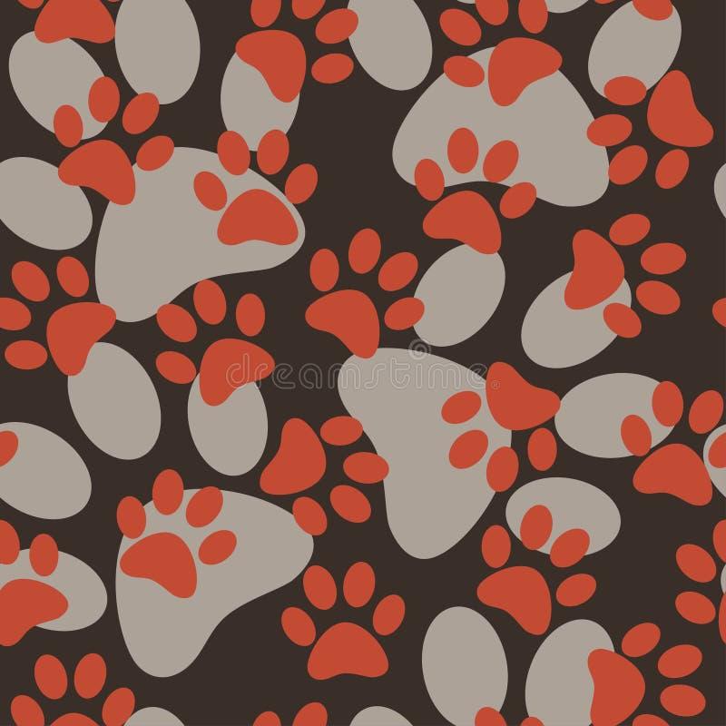 Sömlös modell för vektor med katt- eller hundfotspår Gullig colorfu vektor illustrationer