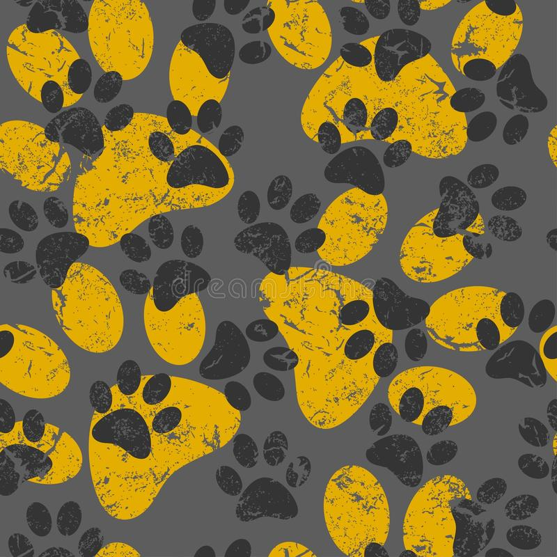 Sömlös modell för vektor med katt- eller hundfotspår Gullig colorfu royaltyfri illustrationer
