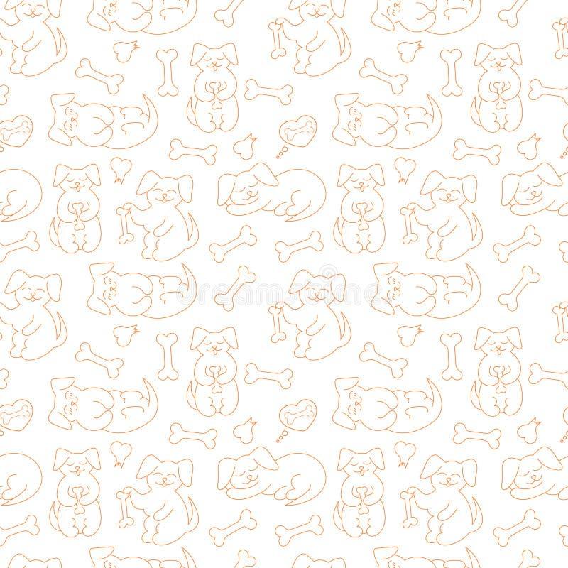 Sömlös modell för vektor med klotterhundkapplöpning royaltyfri illustrationer