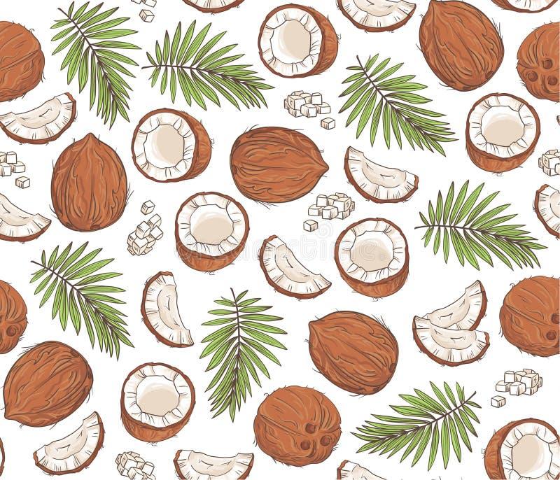 Sömlös modell för vektor med kokosnötter och tropiska sidor vektor illustrationer