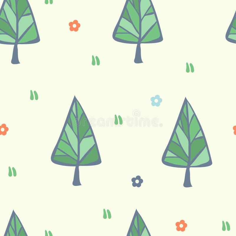 Sömlös modell för vektor med konturjulgran-träd Bakgrund för glad jul och för hälsningkort för lyckligt nytt år royaltyfri illustrationer