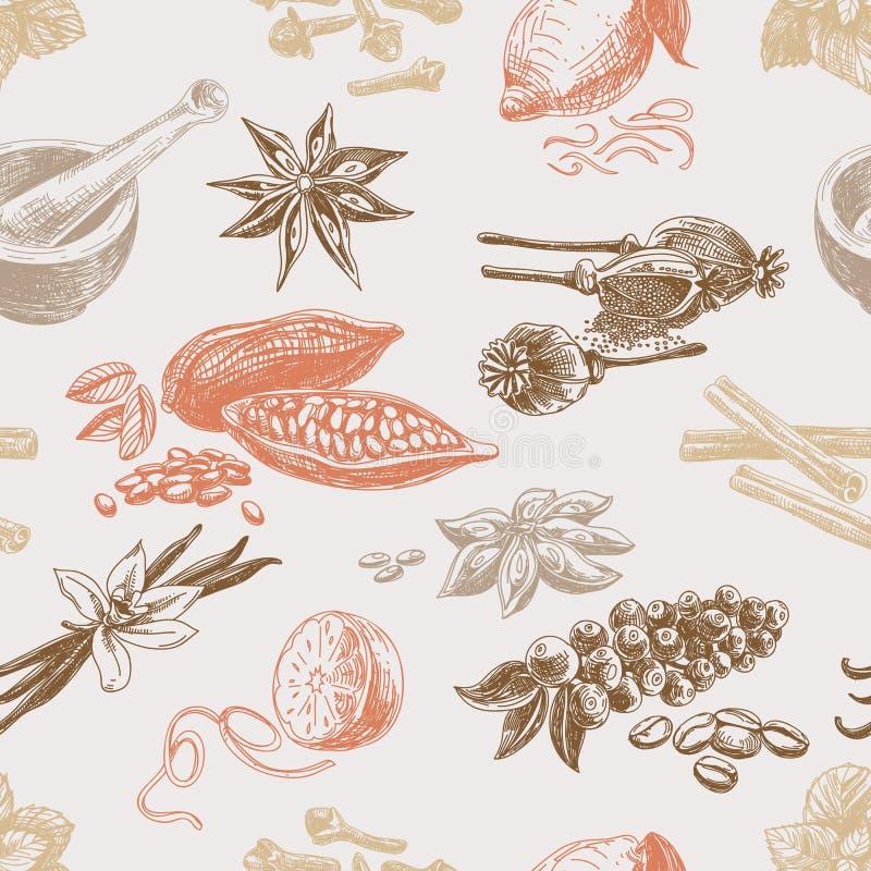 Sömlös modell för vektor med kryddor upprepa royaltyfri illustrationer