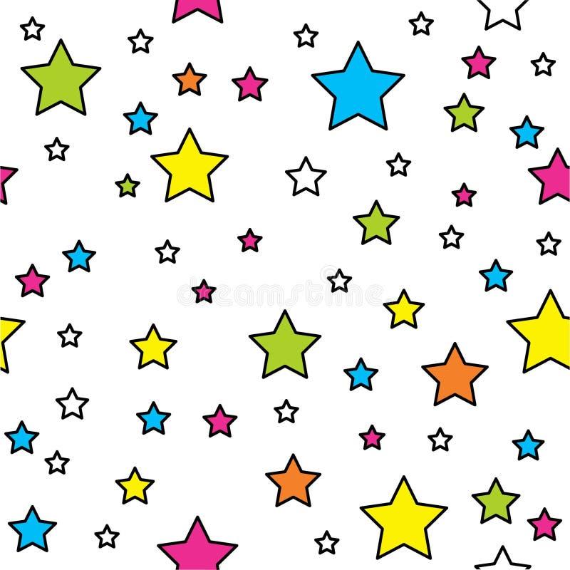 Sömlös modell för vektor med ljusa färgrika stjärnor och prickar på svart bakgrund stock illustrationer